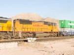 UP 4245 #2 power in WB intermodal at 4:43pm