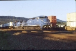 Leased LMS units lead a CR intermodal train