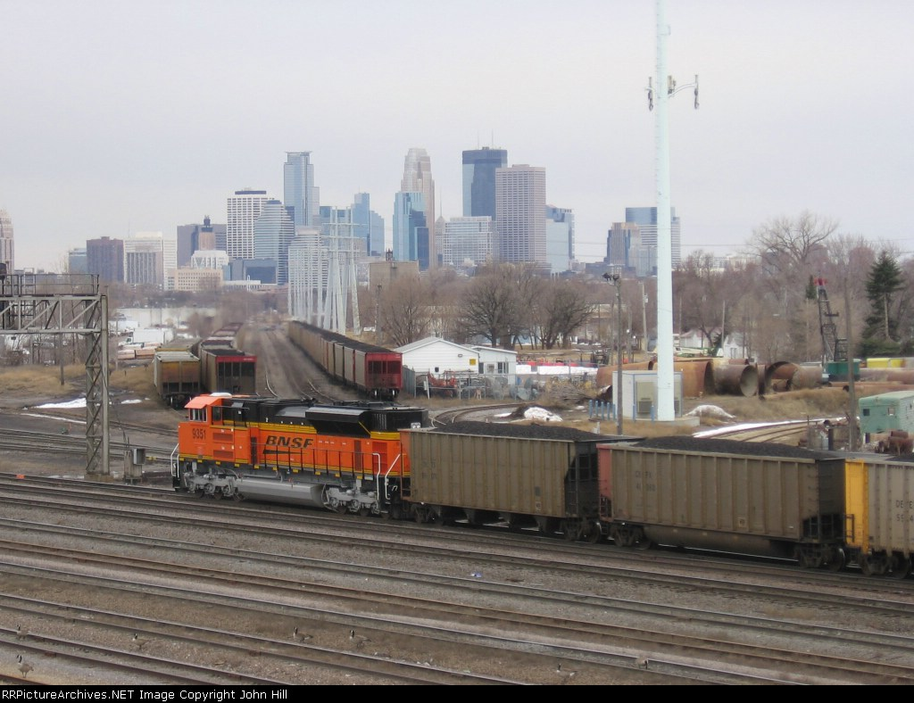 """070314012 Brand new """"Swoosh"""" power in DPU mode on northbound BNSF Superior coal (DEEX) at Northtown CTC 35th"""