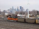 "070314012 Brand new ""Swoosh"" power in DPU mode on northbound BNSF Superior coal (DEEX) at Northtown CTC 35th"