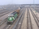 "070324024 In dense fog, BNSF ""pullout"" yard engine works Northtown near CTC 35th"