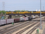 07042916 Westbound CP train with UP engines rolls across CP/SOO bridge over BNSF Northtown Yard at CTC 35th