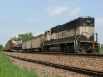 07052815 DPU trails westbound WEPX coal empties as eastbound DEEX coal loads roll through on main