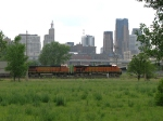 07052828 Westbound BNSF freight as seen from  Bruce Vento Nature Sanctuary on site of ex-NP coach yard and comissary