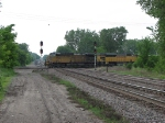 07052838 DPUs on northbound UP/WPSX coal loads on MNNR crossing BNSF St. Paul Sub. diamonds at Park Jct.