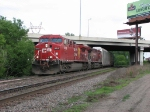 07052841 Westbound CP freight approaches Park Jct. on BNSF St. Paul Sub.