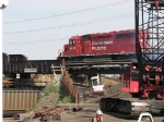 070613007 Westbound CP freight tests new bridge span on old SOO bridge over BNSF Northtown Yard the day after a major Shoofly movement pulled the SOO bridge about 6 feet laterally and added 2 new spans