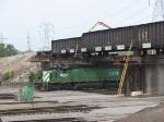 070703015 BNSF yard movement passes under the CP/SOO bridge under reconstruction