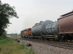 070722022 Westbound BNSF freight with high-wide load on Staples Sub.