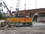 071010046 BNSF Northtown Yard action continues as final span of new CP bridge is set in place