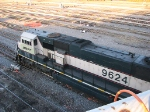 """071022027 Unusual BNSF Grinstein SD70MAC #9624 with """"Swoosh"""" logo acting as DPU on westbound coal empties at Northtown Yard"""