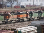 "071127006 BNSF 7835 in recent ""Swoosh"" repaint is already in storage at Northtown ""T"" Yard"