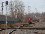 071127009 Southbound MNNR 318 waits its turn to cross over the BNSF at the Park Junction diamonds