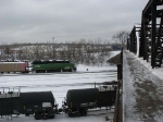 071227016 BNSF Grove Switcher at Northtown shoves coal loads to the Xcel Riverside plant