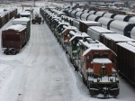 "071227026 Deadline of stored SD40-2s wait in the snow at BNSF Northtown ""T"" Yard"