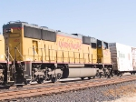 UP 4125 #4 power in WB intermodal at 1:41pm