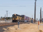 UP 4378 leads a WB doublestack at 1:52pm