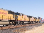 UP 3986 #2 power in WB doublestack at 1:52pm