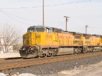 UP 9509 leads a WB doublestack at 4:05pm