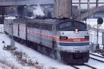 1034-22 AMTK 334 departs Mpls GN passenger depot with eastbound Amtrak Hiawatha