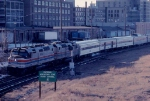 """1036-31 Eastbound Amtrak North Coast Hiawatha on ex-NP """"A"""" line nears arrival at GN depot"""