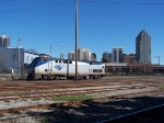 Parked over at the downtown station, Amtrak 98 sits idling.