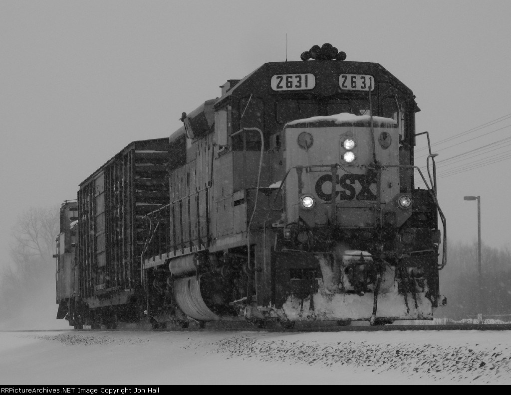 Y106 during a snow squall in B&W