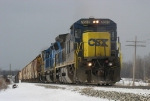 CSX 7616 leading Q334 through the sag