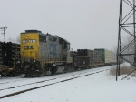 CSX 2631, now as Y106, leads what was the first new call time D708 back into the yard