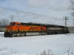BNSF 5893 & 9533 coupling up to an E945 before heading west