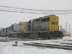 CSX 4446 & 9245 working on a foggy and frozen morning