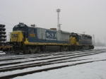 CSX 9245 & 4446 rolling across frosted rails