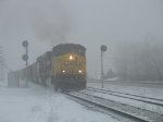 N907 emerging from the freezing fog as it splits the signals at Ivanrest