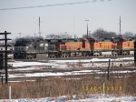 NS C40-9W 9870, BNSF C44-9Ws 4342, 4352, and 5423
