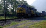 CSX #7348 with a northbound stack train on the River Line, 5/29/06