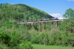 CSX 433 & 303, with s/b V353 on Clinfields Copper Creek trestle,