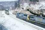 CSX 725 makes a running meet with e/b CSX 8249,