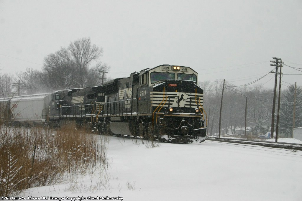 NS 2619 brings a grain train off the Porter Branch