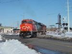 CN 2266 on light power move crossing Broadway