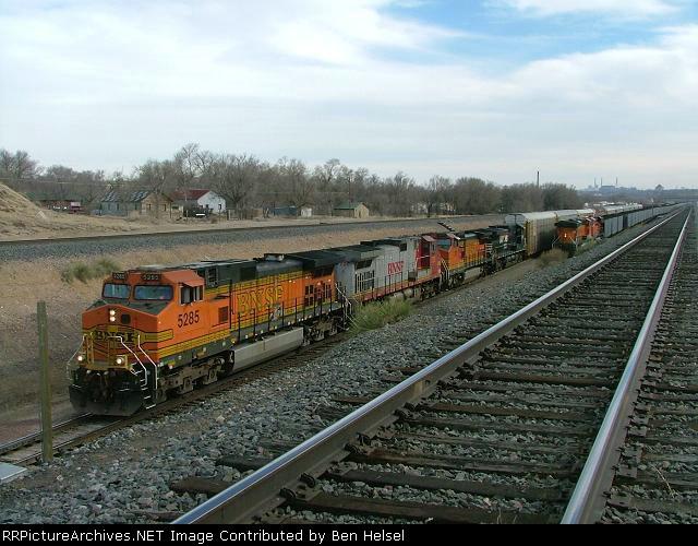 BNSF 5285 north at Pueblo Co w/ 3 including NS 9849