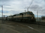 BNSF 9710 heads east/south thru Pueblo Jct Monday 19 Feb 07