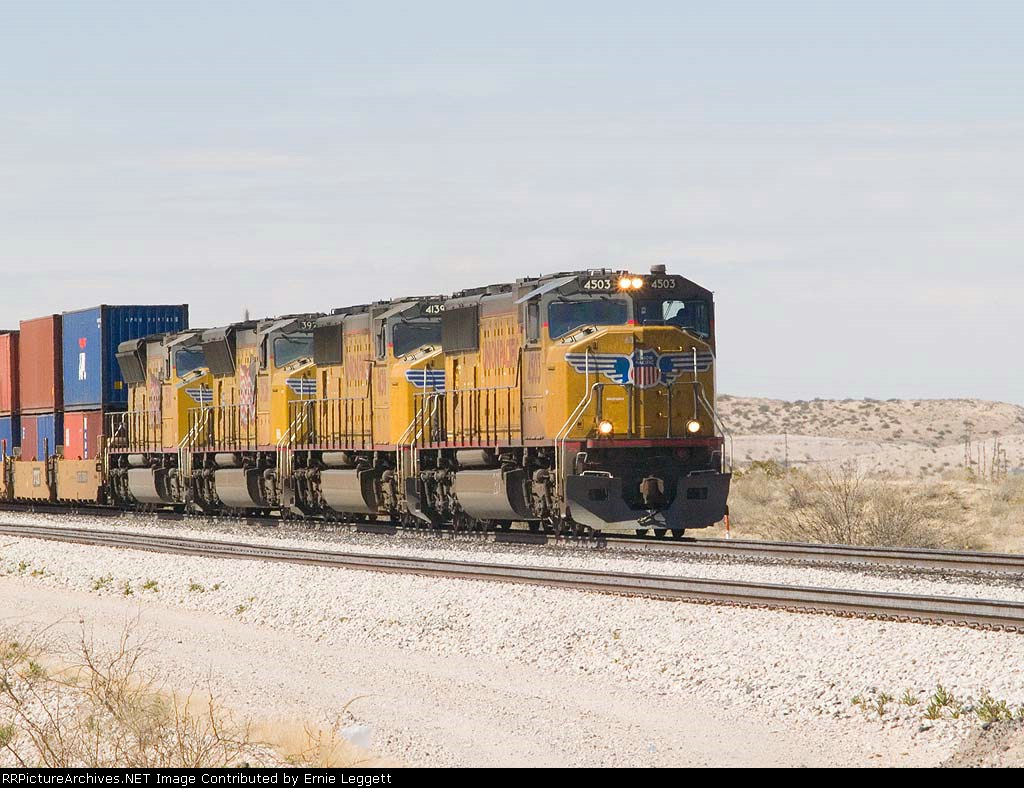 UP 4503 leads an EB stack at 1:15pm