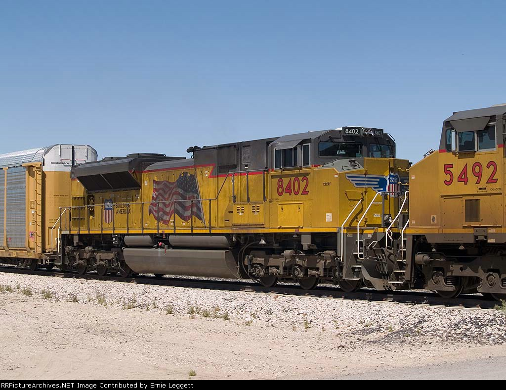 UP 8402 #3 power in an EB intermodal at 1:06pm