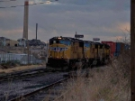 UP 4249 leads an EB doublestack at 7:40am