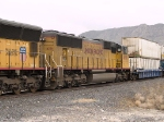 UP 4356 #3 power in WB intermodal at 1:10pm