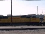 UP 4369 #2 power in WB stack train at 9:22am