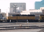 UP 3381 #2 power in WB piggyback/intermodal at 9:22am