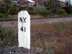 Gravestone-Style Milepost on The River Line