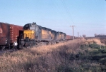 1123-20 Eastbound CNW freight pulled by Alco slug set