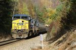 Q697 struggles upgrade with a heavy train